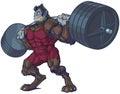 Weightlifting Beast Man Mascot Vector Illustration