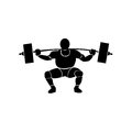 Weightlifting a black silhouette of a man with muscles doing sports in a white background Stock Images