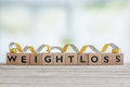 Weightloss sign with measure tape Royalty Free Stock Photo