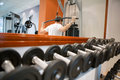 Weights in gym dumbbells of different scales lie on the sports shelf Royalty Free Stock Images