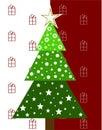 Weihnachtsbaum auf einem roten hintergrund Lizenzfreies Stockbild
