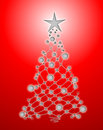 Weihnachtsbaum auf einem roten hintergrund Stockbilder