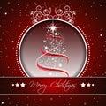 Weihnachtsbaum auf einem roten hintergrund für ihren glücklichen feiertag Lizenzfreie Stockbilder