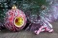 Weihnachtsbaum, Dekorationen und Süßigkeit Stockfotografie