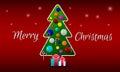 Weihnachtsbaum mit bällen und süßigkeit auf einem roten hintergrund mit grüßen Lizenzfreies Stockbild
