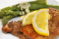 Weiner Schnitzel and asparagus Stock Photography