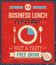 Weinlese business lunch plakat vektorillustration Stockbild