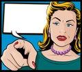 Weinlese knall art woman mit dem zeigen der hand Lizenzfreies Stockbild