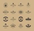 Weinlese logo design schablonen eingestellt vektor gestaltungselemente Lizenzfreie Stockfotografie