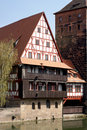 Weinstadl nuremberg ancient franconian building at river pegnitz in Royalty Free Stock Images