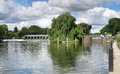 Weir and lock gate on the River Thames Royalty Free Stock Images