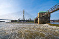 Weir on the Odra river Royalty Free Stock Photo