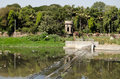 Weir on the river musi hyderabad view of a slow flowing in andhra pradesh Royalty Free Stock Image