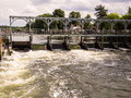 Weir on the river thames england marsh henley oxfordshire Royalty Free Stock Photos