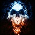 Weird punk skull - storm and lightning