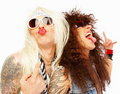 Weird rockstars making funny faces Royalty Free Stock Images