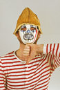 Weird scary mime masked in striped red and white shirt Stock Images
