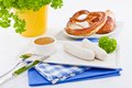 Weisswurst white sausages sweet mustard pretzel bavarian traditional food Royalty Free Stock Photos