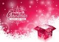 Wektorowa bożenarodzeniowa ilustracja z typograficznym projektem i błyszczący magiczny prezenta pudełko na płatka śniegu tle Fotografia Royalty Free