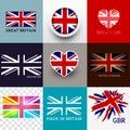Wektorowa union jack flaga kolekcja Fotografia Royalty Free