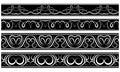 Wektorowy ustawiający granicy bielu wzór na czerni Zdjęcia Royalty Free