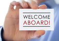 Welcome aboard greeting business card Royalty Free Stock Photos