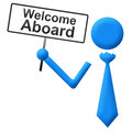 Welcome aboard human with signboard icon tie holding sign Royalty Free Stock Photography