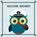 Welcome aboard vector card with owl pretty captain illustration Royalty Free Stock Photo