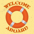 Welcome aboard vintage style vector illustration of a life buoy with text Royalty Free Stock Photography