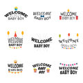 Welcome baby boy. Baby boy arrival postcards. Baby shower card d Royalty Free Stock Photo