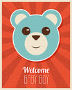 Welcome baby boy card retro vector illustration Royalty Free Stock Images