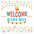 Welcome baby boy shower card. Arrival card. Announcement card. C