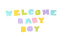 Welcome baby boy text on white background Royalty Free Stock Photo