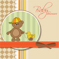 Welcome baby card with boy teddy bear and his duck Royalty Free Stock Photos