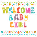 Welcome baby girl. Baby girl arrival card. Baby girl shower card Royalty Free Stock Photo