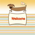 Welcome baby shower card with long dog Royalty Free Stock Photo