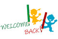 Welcome back announcement writting by kids Stock Photo