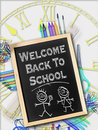 Welcome back to school concept on slate Royalty Free Stock Photos