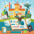 Welcome back to school. Cute school kid template banner. Boy pupil and study equipment near school building. Cartoon