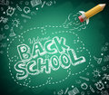 Welcome Back to School Drawing in Green Chalkboard Background