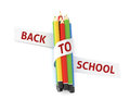 Welcome back to school embroidered on ribbon on colorful crayons quote white illustration concept isolated witch cutting path Stock Photography