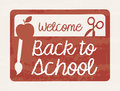 Welcome back to school frame over burgundy background vector illustration Stock Photography