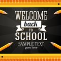 Welcome back to school greeting card with place for your text pencils and rulers on chalkboard background Stock Photo