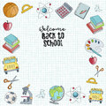 Welcome back to school hand drawn illustration.
