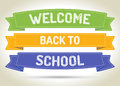 Welcome back to school pen style text on colorized ribbons with shadow Stock Image