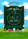 Welcome back to school poster, banner or flyer for sales discoun