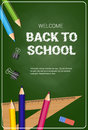 Welcome Back To School Poster Colorful Crayons Pencils And Rulers On Chalk Board Background