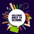 Welcome Back to school sign with schools supplies Royalty Free Stock Photo