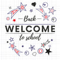 Welcome back to school text banner in white paper background with red and blue stars and signs. Vector.