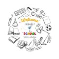 Welcome back to school vector collection. hand drawn elements. School supplies. Books, notebook, copybook, backpack, lamp, alarm c Royalty Free Stock Photo